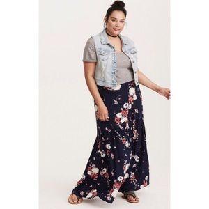 TORRID Floral Button Front Challis Maxi Skirt
